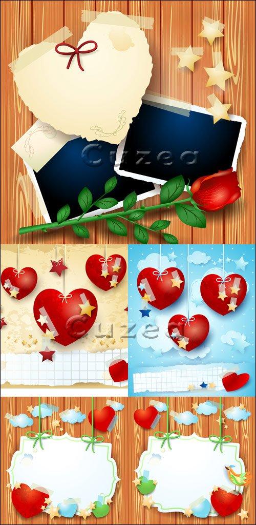 Векторные элементы ко дню Валентина на деревянном фоне в векторе