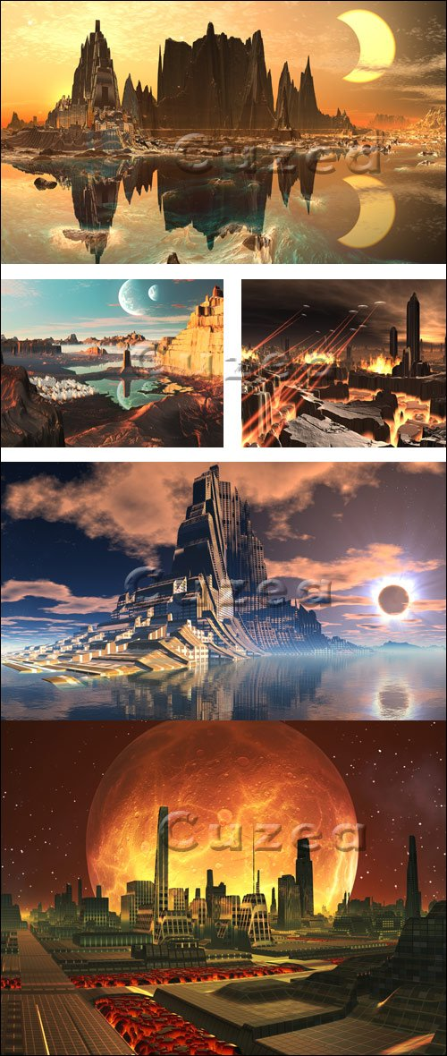 Внеземные цивилизации и небесные светила - Stock photo
