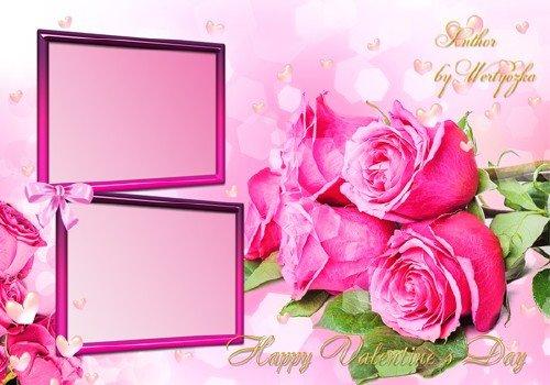 Розовые розы, букет роз, цветы - Рамка для фотошопа ко дню святого валентина