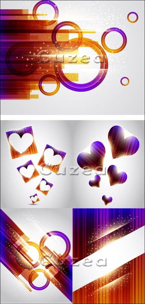 Сверкающие абстрактные фоны с сердцами в векторе