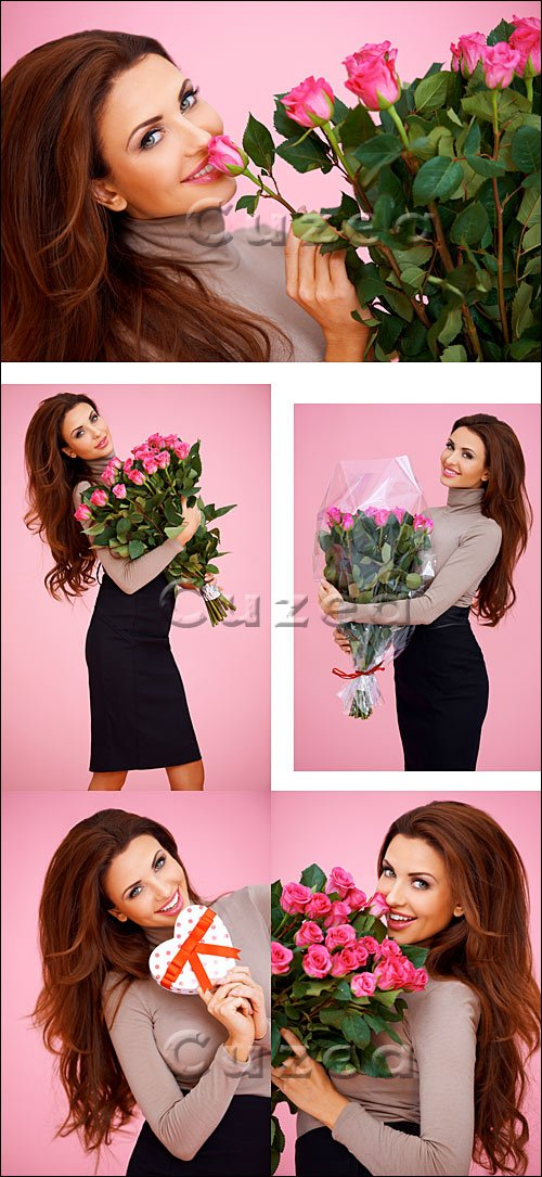Девушка с цветами/ Girl with beautiful roses - Stock photo