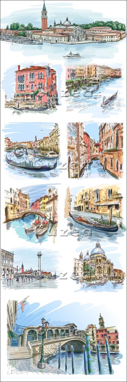 Старинный город в векторных рисунках   The ancient city in vector drawings