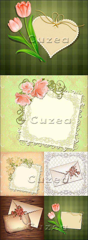 Винтажные письма и цветы / Vector stock - Vintage letter and tulip