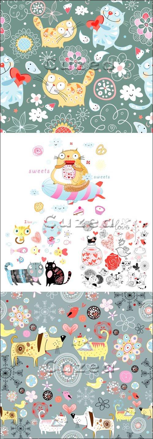 Векторные открытки с животными ко дню рождения/ The drawn cats and dogs for cards to birthday in a vector