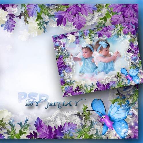 Детская рамка для фотошопа - Озорная бабочка