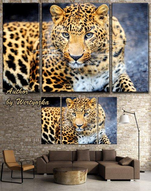 Леопард - PSD исходник триптих, модульная картина