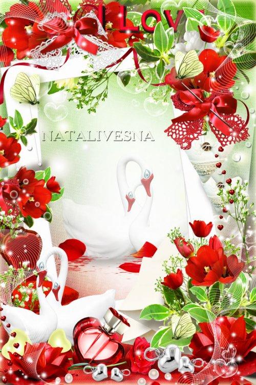 Цветочная рамочка -  Лепестки тюльпанов алых, шепчут -  Я люблю