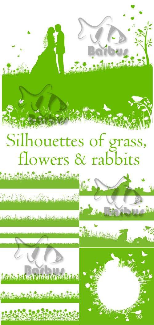Silhouettes of grass, flowers and rabbits / Силуэты травы, цветов и кроликов