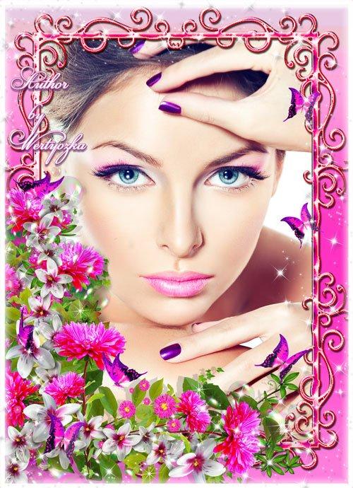 Астры, красивые цветы, бабочки - рамка для фотошопа