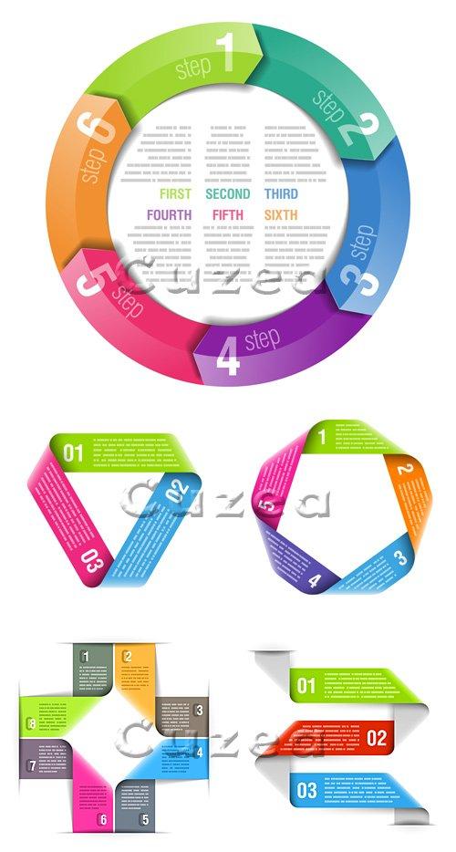 Элементы инфографики с нумерацией, часть 21/ Infographics design template, part 21