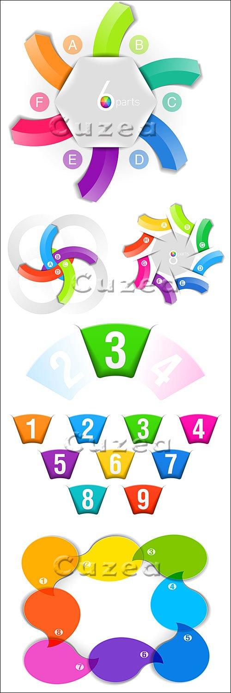 Элементы инфографики с нумерацией, часть 23/ Infographics design template with numeration, part 23