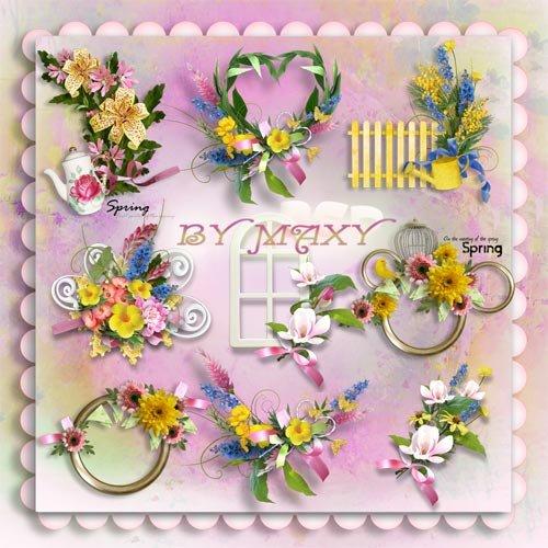 Рамки вырезы и композиции для фотошопа - Весенние цветы
