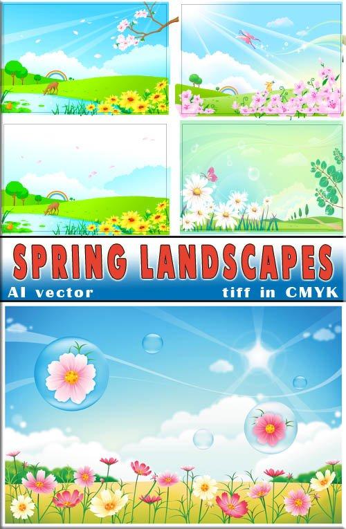 Весенние яркие бабочки и животные и синее небо (вектор и растр)