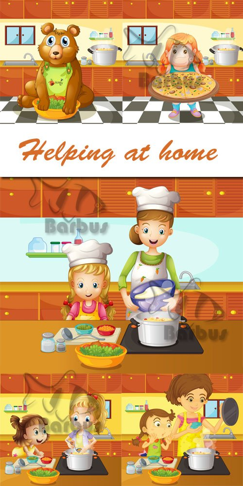 Helping at home / Помощь по дому - Vector illustration