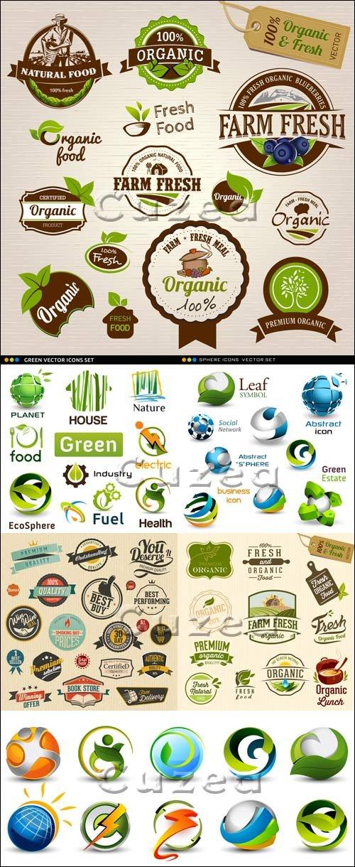 Векторные лэйблы и стикера/ Green vector icons and labels