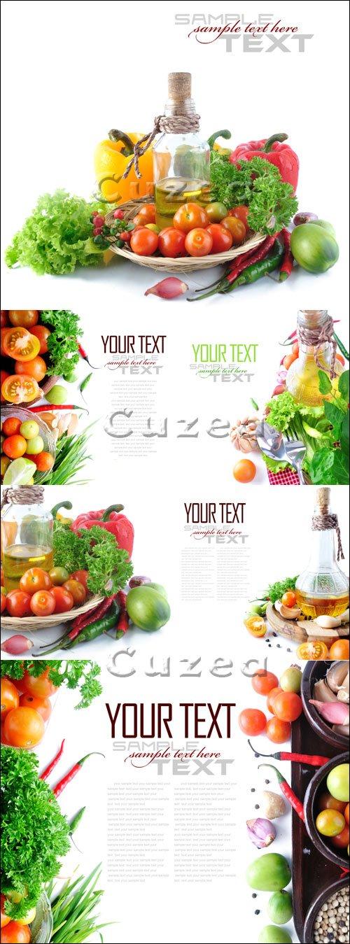 Овощи на белом фоне с местом для текста/ Tomatos, chives, garlic, red chili, lime and parsley on white - Stock photo