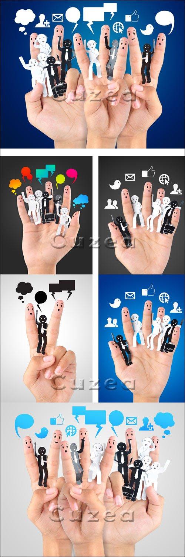 Символика социальной сети/ Smile fingers for symbol of social network - Stock photo
