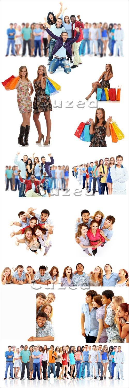 Группа молодых людей на белом фоне/ Group of young people. Isolated on white - Stock photo