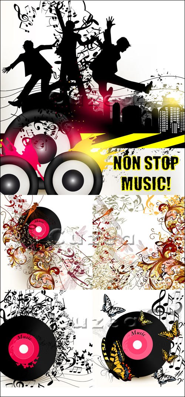Музыкальные фоны и баннеры для дискотеки/  Grunge music vector banner for disco with ink spots, happy people silh