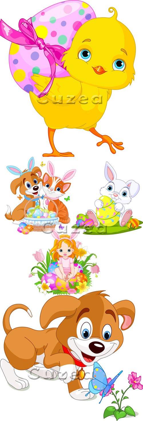 Векторный пасхальный клипарт животных и девочки/ Easter girl, animals and chicken in vector
