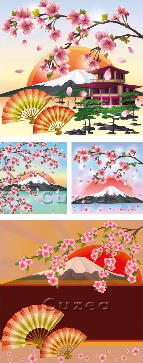 Цветущая сакура на фоне вулкана/ Blossoming Oriental sacura against a volcano