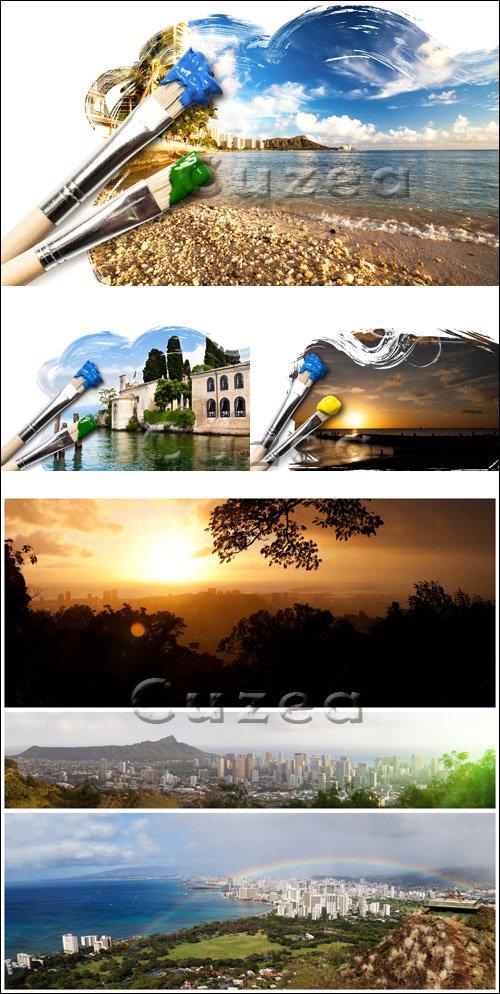 Фоны природы/ Nature  landscape backgrounds  -  Stock photo