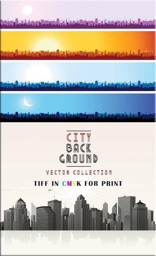 Панорама мегаполиса - на рассвете (eps & tiff)
