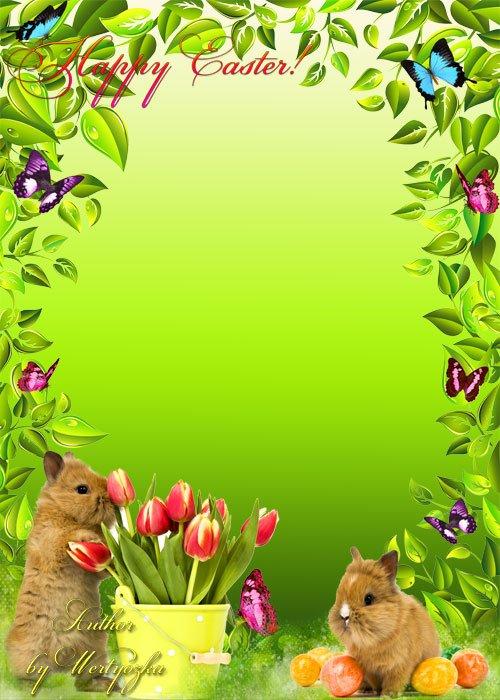 Пасха, пушистые кролики и бабочки - рамка для фотошопа