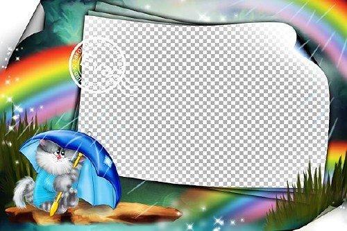 Детская фоторамка - Дождливая радуга