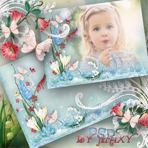 Детская рамка для фото - Капли воды на весенних цветах