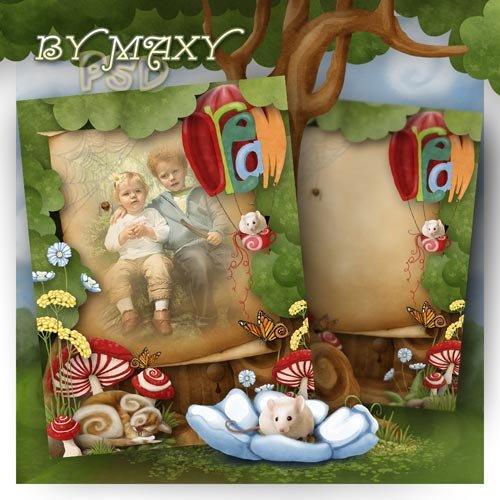 Рамка с рисованными элементами для фото детей - Мышка