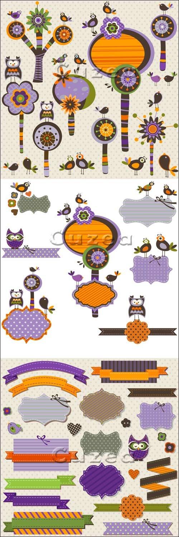 Векторные элементы для скрапбукинга с птицами/ Vector scrapbuking elements with birds