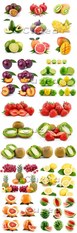 Фрукты на белом фоне/ Fruit on white background - stock photo