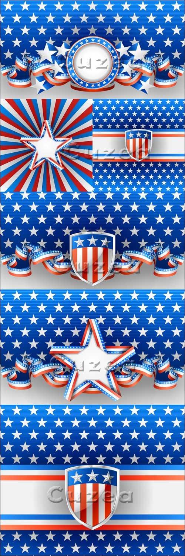 Векторные фоны с американской символикой/ American backgrounds in vector
