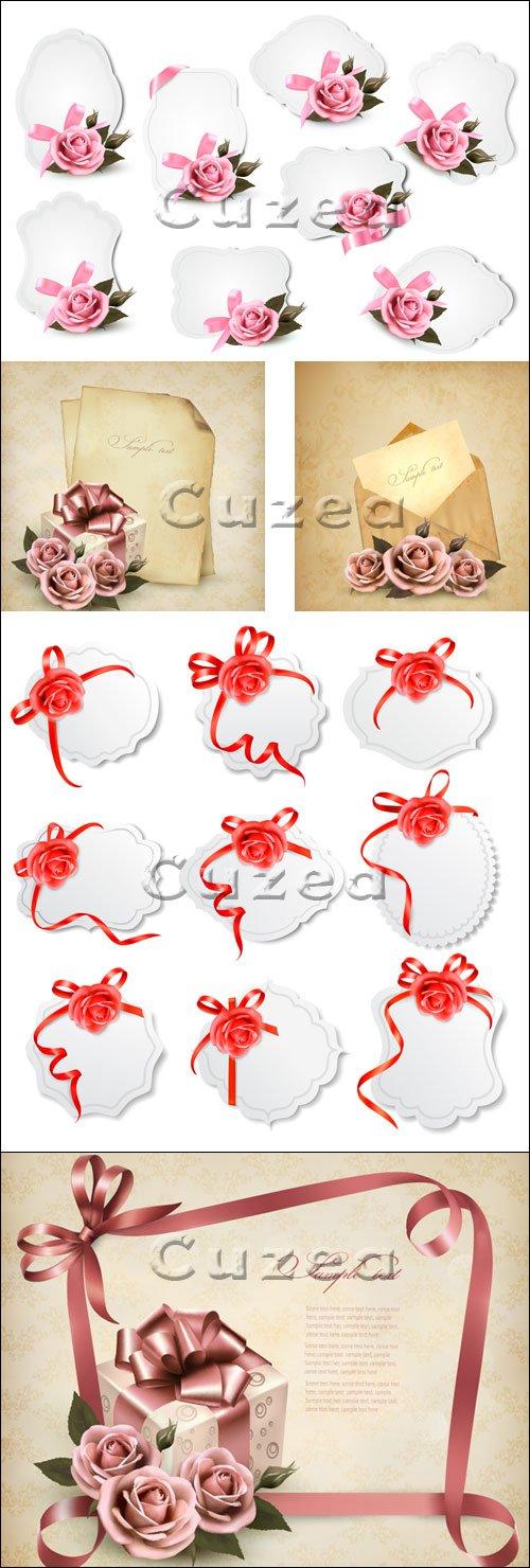 Коллекция поздравительных фонов с розами/ Collection of holiday greeting cards with  roses in vector