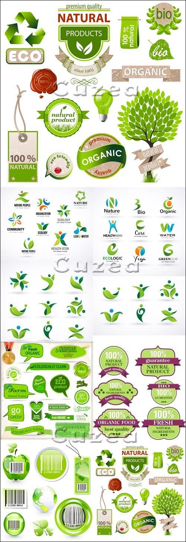 Эко лэйблы и иконки в векторе/ Ecology labels and icons in vector