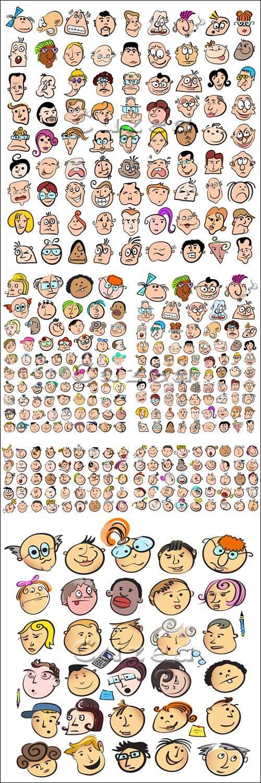 Забавные лица людей в векторе/ Fanny faces in vector