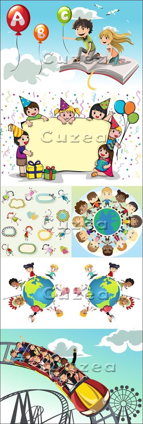 Детские праздники и каникулы - векторный клипарт/ Holidays and children rest in vector