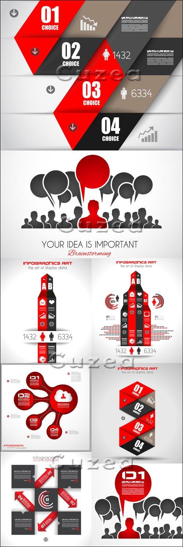 Инфографики на социальную тему, 47   Social media infographics,47 - vector stock