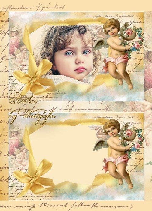 Рамка для фотошопа в винтажном стиле - Мой маленький ангел