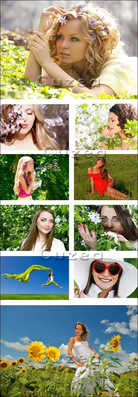 Девушки на природе / Female and nature - stosk photo