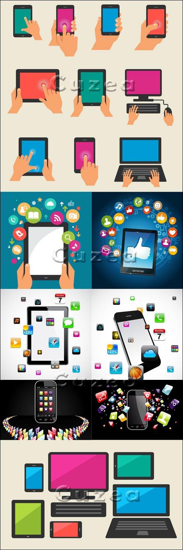 Смартфоны и современные технологии в векторе / Smartphones and tehnology in vector set