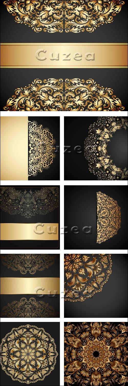 Тёмные винтажные векторные фоны с золотыми элементами / Black background with gold elements - vector stock