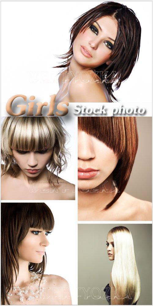 Модные девушки, стильные прически - растровый клипарт / Fashion girls, stylish hairstyle