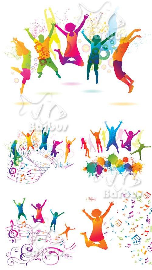 Active Jumping and Dancing People / Активные цветные прыгающие и танцующие люди