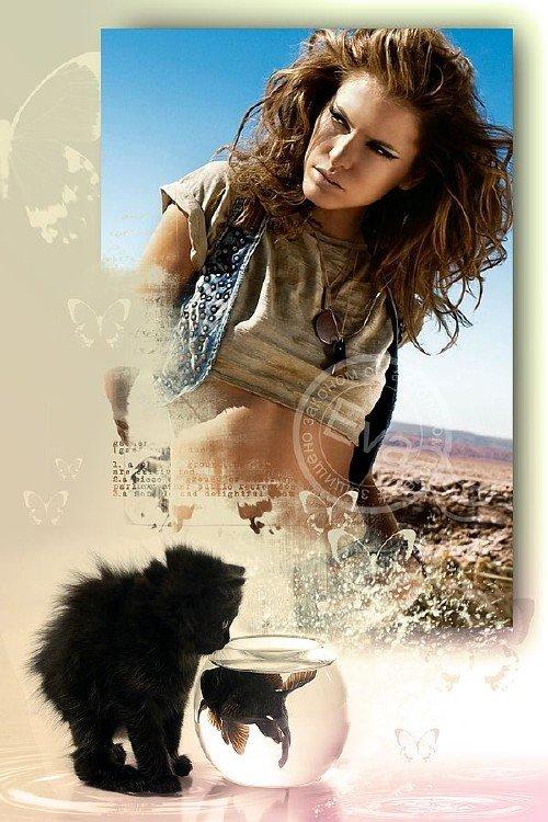 Рамочка для фотографий - Черный котенок