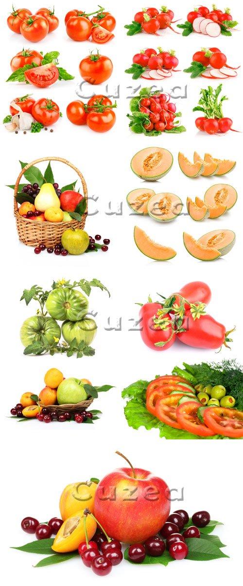 Овощи и фрукты на белом фоне/ Vegetables and fruit - stock photo