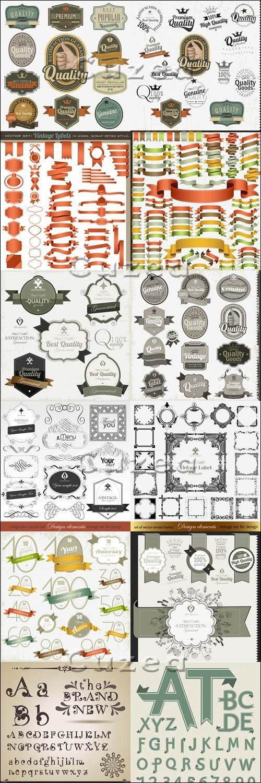 Сборник винтажных стикеров, лент и алфавита в векторе / Vector vintage labels, ribbons and alfabet