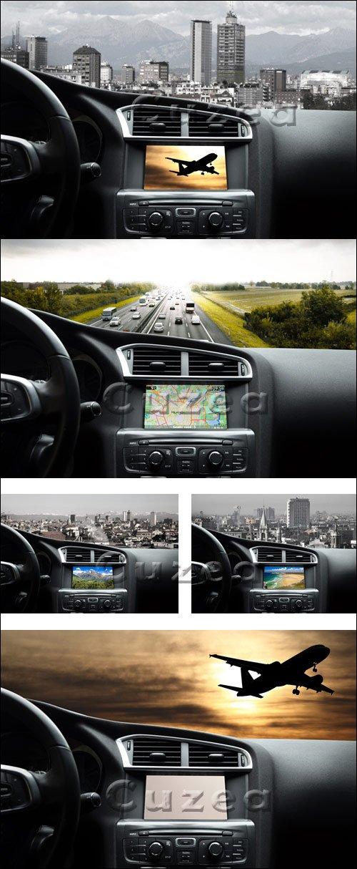Навигация в машине / Navigator in the car - stock photo