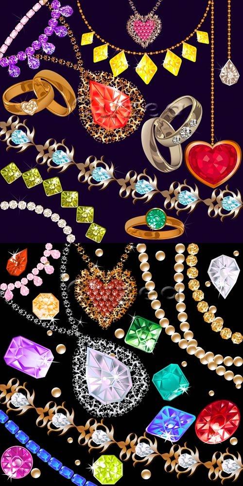 Векторные цветные драгоценные камни и кольца / Vector diamond of differents colors and rings